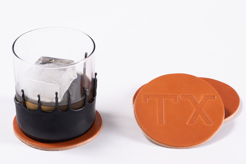 Manready Mercantile Leather Coasters in TX medium brown available at manready.com