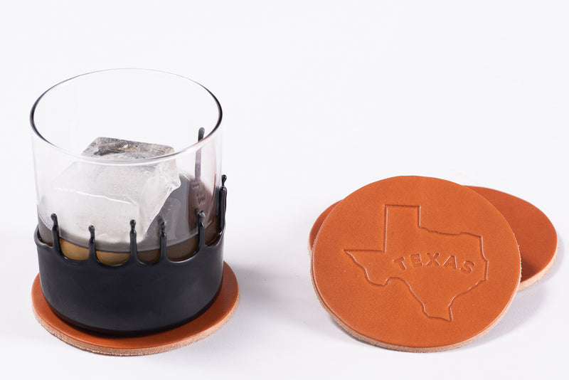 Manready Mercantile Leather Coaster with Texas Outline in medium brown available at manready.com