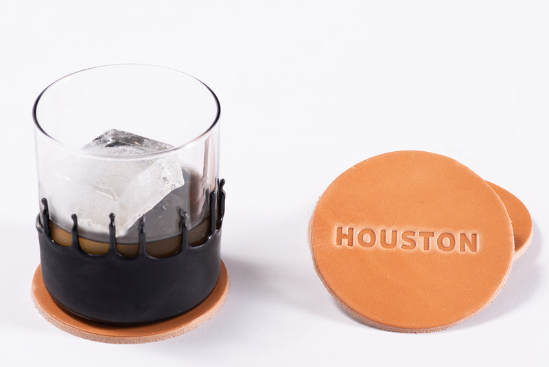 Manready Mercantile Leather Coaster with Houston in light brown available exclusively at manready.com