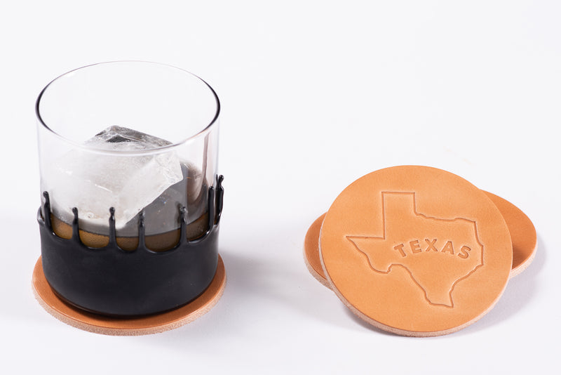 Manready Mercantile Leather Coaster with Texas Outline in light brown available at manready.com
