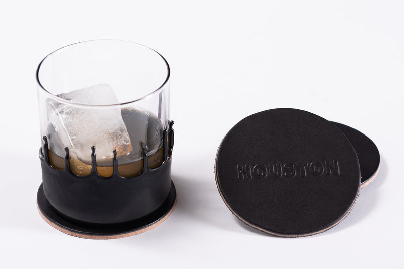 Manready Mercantile Leather Coaster with Houston in black available exclusively at manready.com