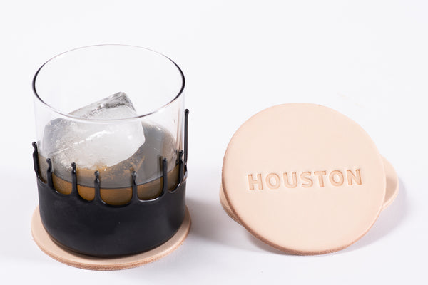Manready Mercantile Leather Coasters with Houston in natural available exclusively at manready.com