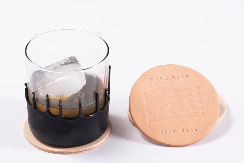 Manready Mercantile Leather Coaster with Work Hard Live Well in natural available at manready.com