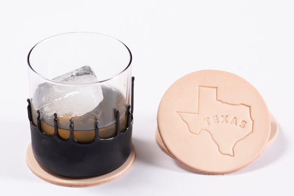 Manready Mercantile Leather Coaster with Texas Outline in natural available at manready.com