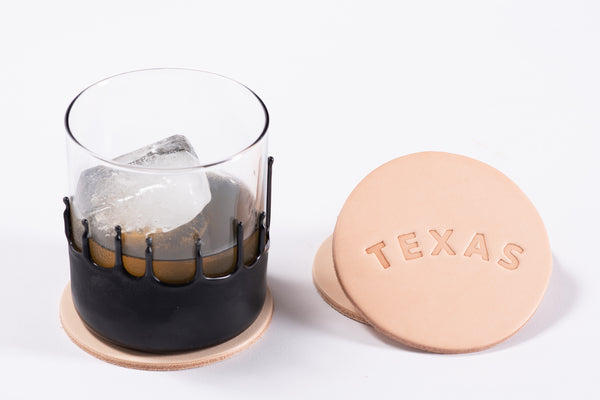 Manready Mercantile Leather Coaster with Texas in natural available at manready.com
