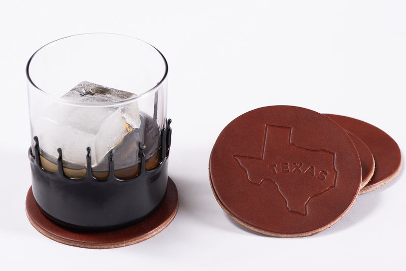 Manready Mercantile Leather Coaster with Texas Outline in dark brown available at manready.com