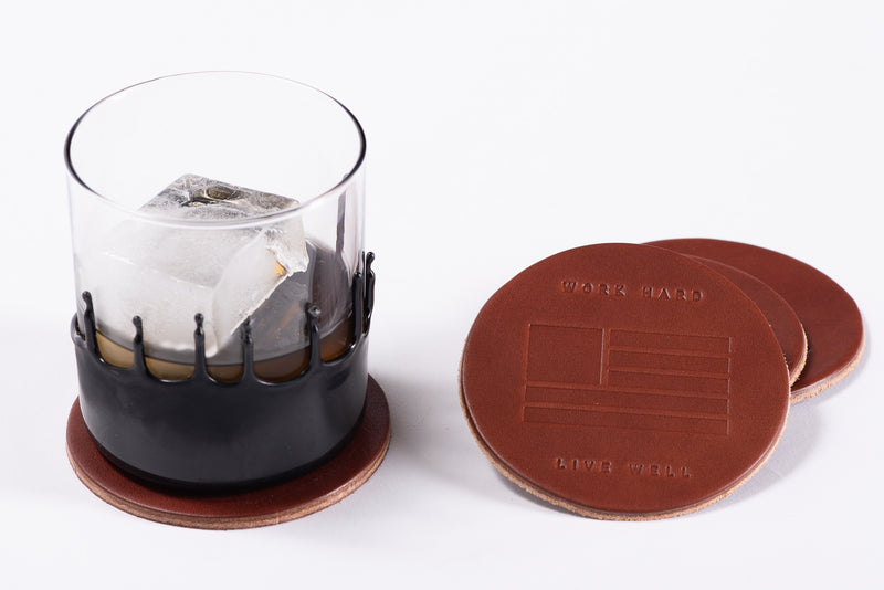 Manready Mercantile Leather Coaster with Work Hard Live Well in dark brown available at manready.com