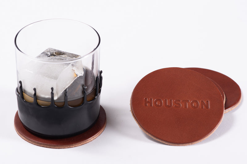 Manready Mercantile Leather Coasters with Houston in dark brown available exclusively at manready.com