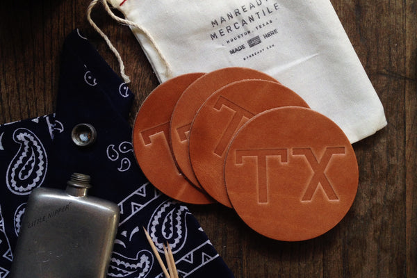 Leather Coaster | TX | Manready Mercantile - Manready Mercantile