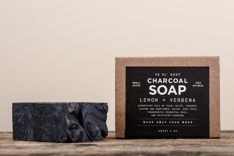 Manready Mercantile Lemon and Verbena Charcoal Goat Soap available at Manready Mercantile and online at manready.com