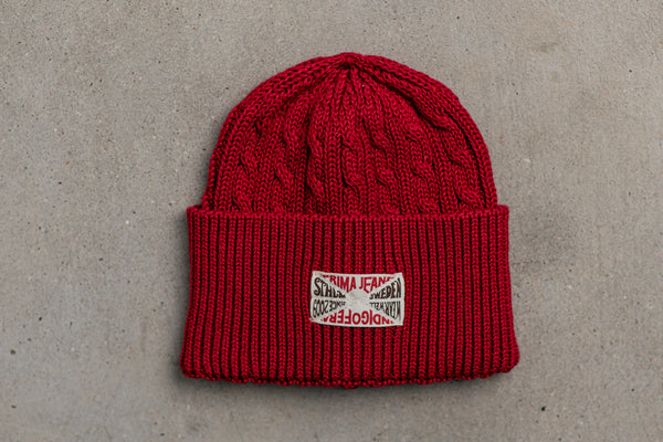 Indigofera Cimino Cable Knit Cap in Red available at Manready Mercantile and Manready.com