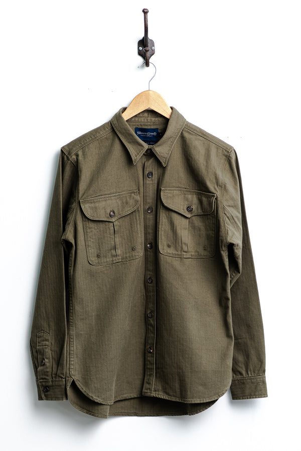 Currant Shirt | Olive Herringbone | Freenote Cloth