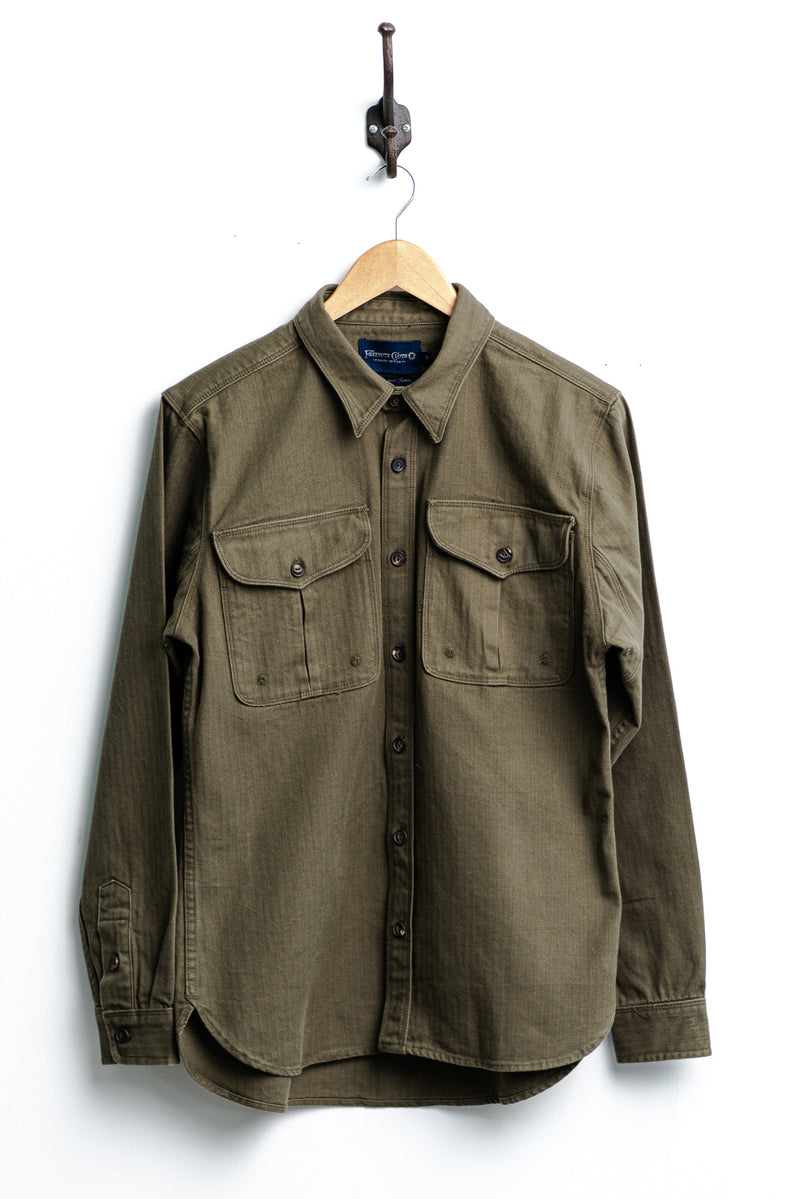Currant Shirt | Olive Herringbone | Freenote Cloth - Manready Mercantile