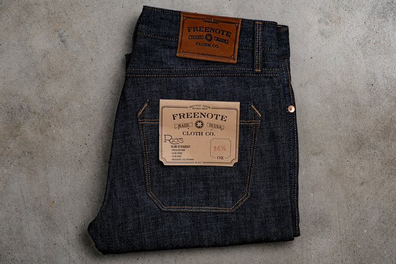 Rios Slim Straight | 14 oz. Blue | Freenote Cloth