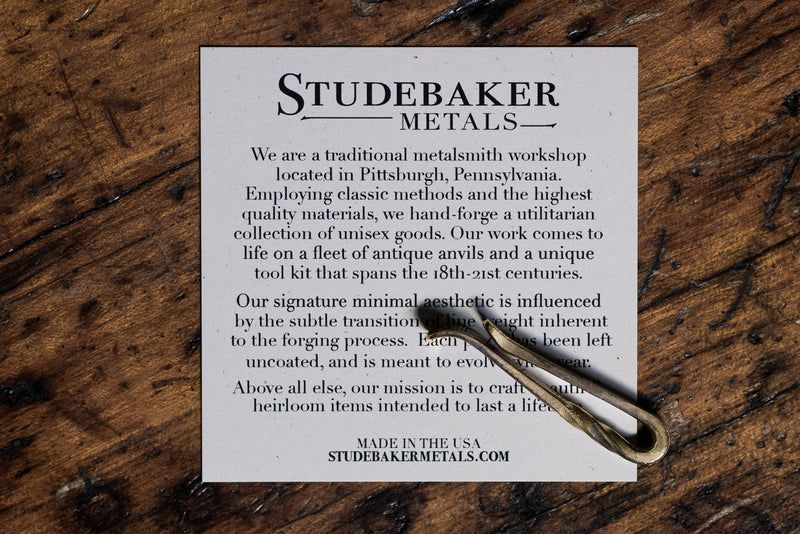 Twisted Forged Tie Bar | Work Patina | Studebaker Metals - Manready Mercantile