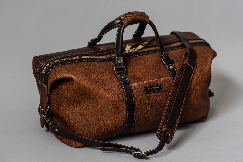 Bison Duffel No. 105 in Walnut by Coronado Leather available at Manready Mercantile in Texas and manready.com
