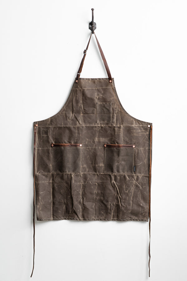 Industry Apron in Dark Oak Waxed Canvas by Hardmill available at Manready Mercantile and manready.com