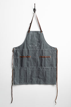 Industry Apron in Charcoal Waxed Canvas by Hardmill available at Manready Mercantile and manready.com