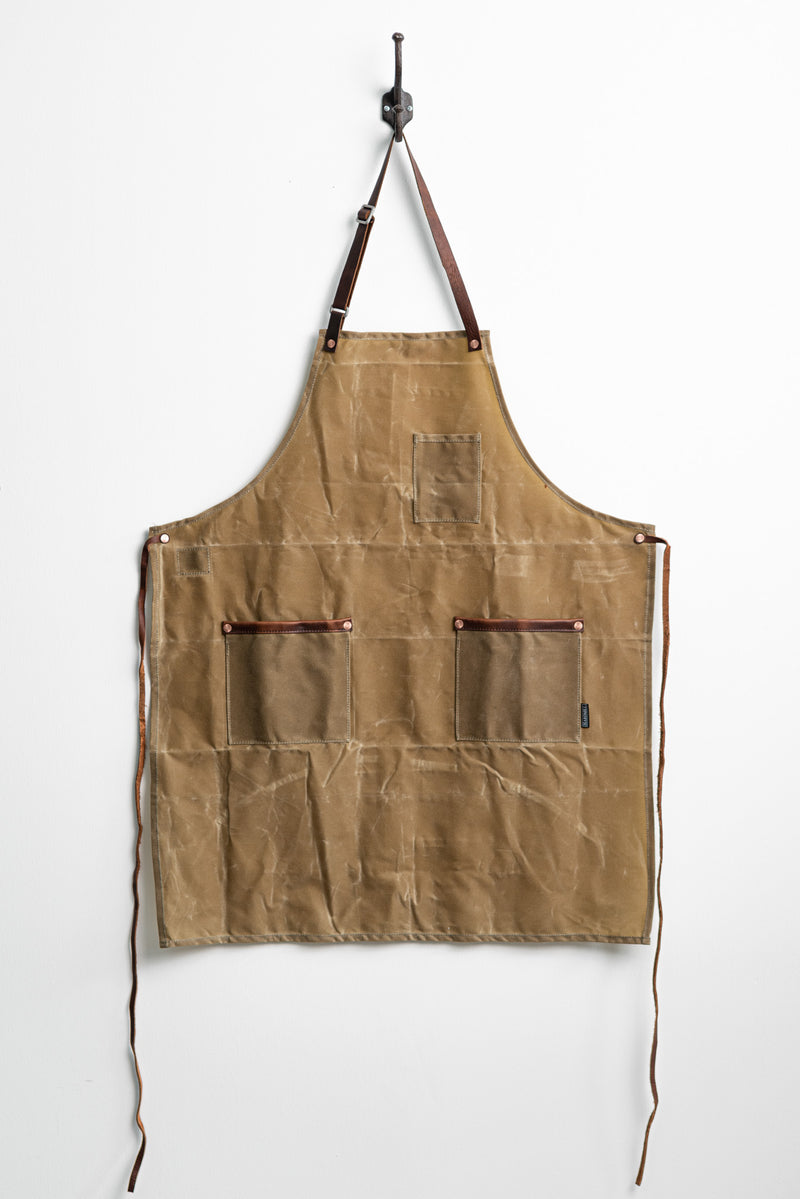 Industry Apron in Field Tan Waxed Canvas by Hardmill available at Manready Mercantile and manready.com