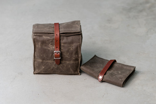 Lunch Tote | Dark Oak Waxed Canvas | Hardmill - Manready Mercantile