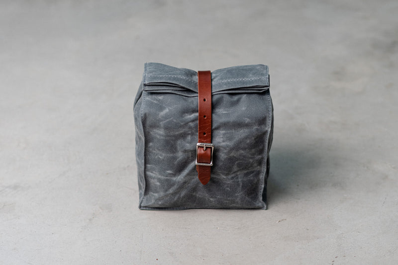 Hardmill Lunch Tote in Charcoal Waxed Canvas available at Manready Mercantile and manready.com