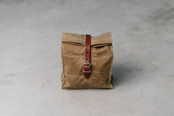 Hardmill Lunch Tote in Field Tan Waxed Canvas available at Manready Mercantile and manready.com