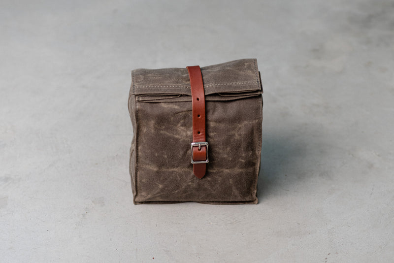 Hardmill Lunch Tote in Dark Oak Waxed Canvas available at Manready Mercantile and manready.com