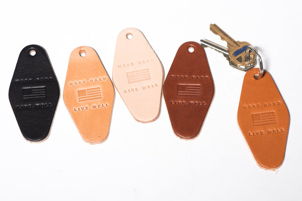 Leather Motel Key Tag | Work Hard Live Well