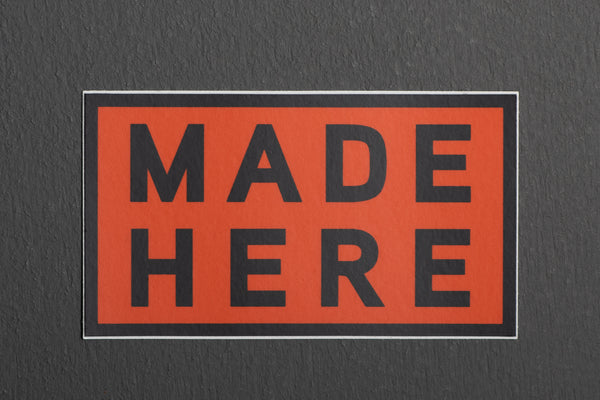 Manready Mercantile Made Here Sticker in Orange available at Manready Mercantile and manready.com