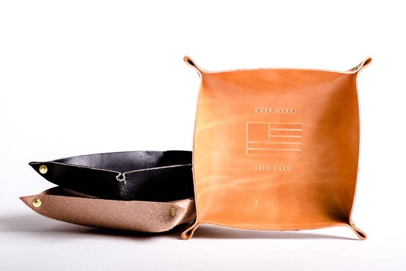 Leather Valet Tray | Work Hard Live Well | Manready Mercantile - Manready Mercantile