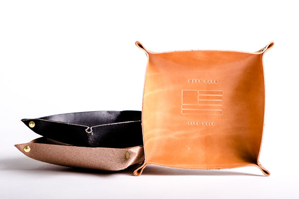 Leather Valet Tray | Work Hard Live Well | Large | Manready Mercantile