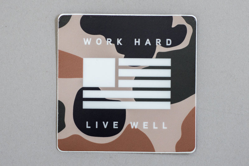 Sticker | Work Hard, Live Well | Camo | Manready Mercantile