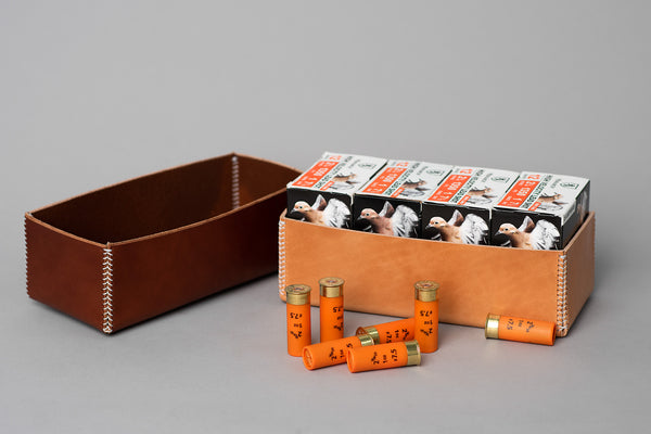Manready Mercantile Leather Shotgun Shell Box Holder available at manready.com