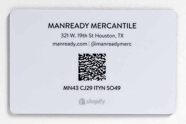 Manready Mercantile Gift Card available at Manready Mercantile and manready.com