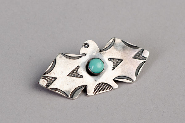 Lil Thunderbird Pin | Sterling Silver + Turquoise | Red Rabbit Trading Co.