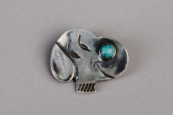 Year of the Dog Pin | Sterling Silver + Turquoise | Red Rabbit Trading Co.