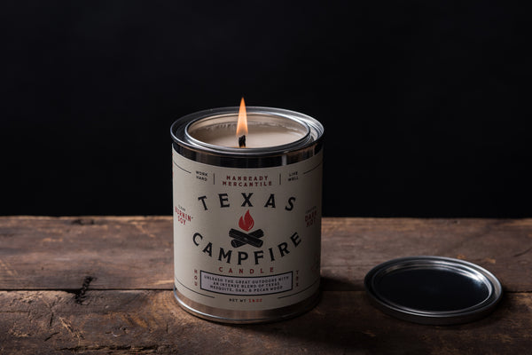 texas campfire candle pecan wood mesquite wood oak fire logs woods burn camping hunting manready mercantile