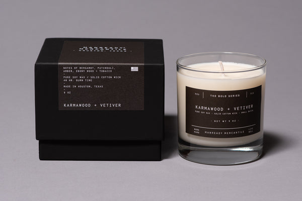 Karmawood Vetiver Soy Wax Bold Series Candle Made in Houston Manready Mercantile