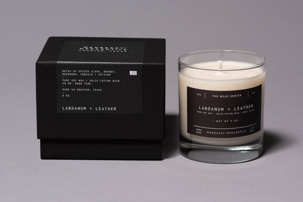 Labdanum Leather Soy Wax Bold Series Candle Made in Houston Manready Mercantile