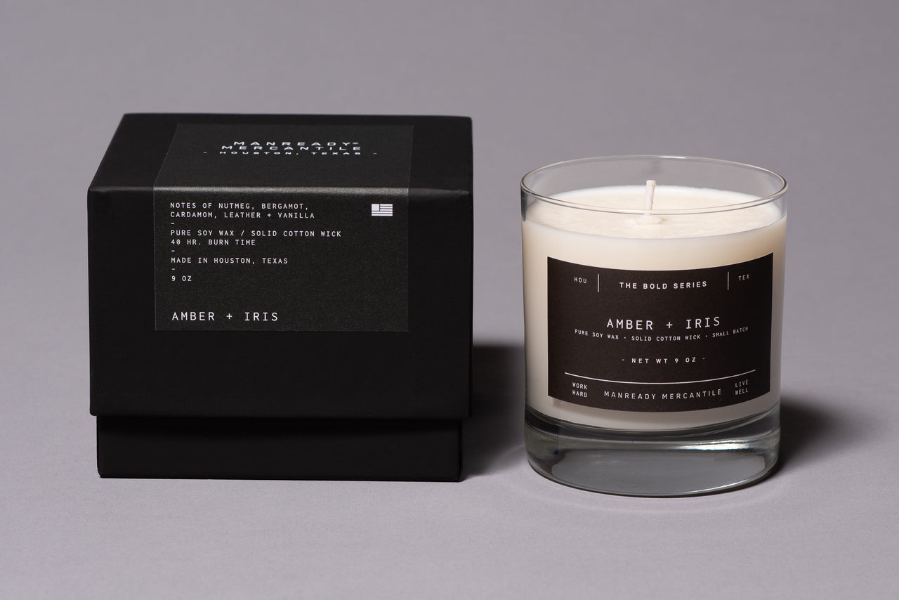 Amber Iris Soy Wax Bold Series Candle Made in Houston Manready Mercantile