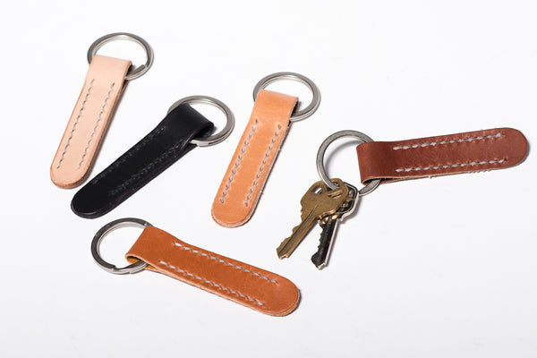 Manready Mercantile Leather Key Fob with Nickel Ring available at manready.com