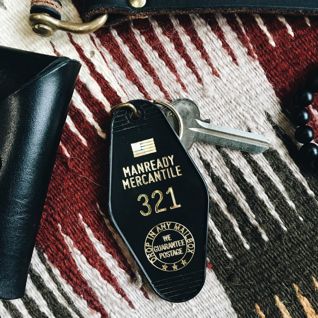 Three Potato Four Manready Mercantile Motel Keychain Key Tag 321 Shop Houston