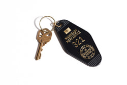 "Motel Key Tag | ""321"" Black & Gold  