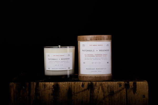 Manready Mercantile Patchouli Rosewood Soy Wax Candle Noble Series Made in Houston