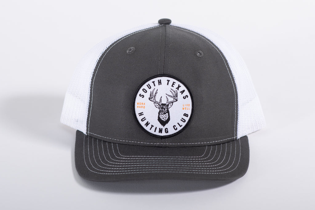 112 Richardson Hat | Grey + White | Hunting Club Patch | Manready Mercantile