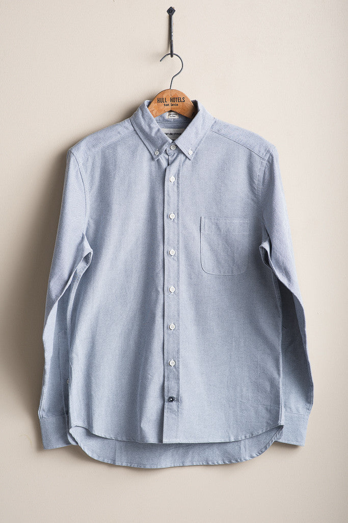 Taylor Stitch Blue Oxford Jack Button Down Blue Made in America Menswear Shirting Manready Mercantile
