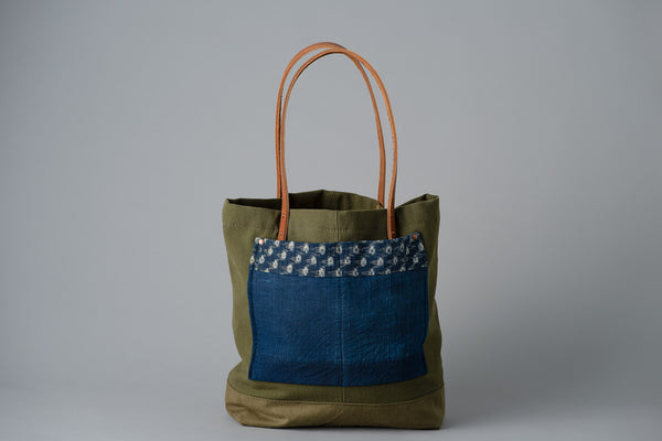 US Wool Army Tote with Boro Indigo Pocket | The Highlands Foundry - Manready Mercantile