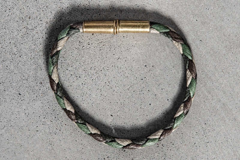 Flint Bracelet | Leather Braided .22 | Camo Single Wrap | Tres Cuervos