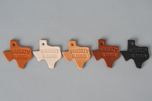 Leather Texas Key Tag with Whiskey Blooded available at manready.com