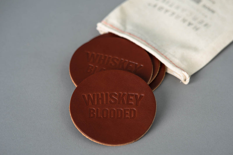 Leather Coaster | Whiskey Blooded | Manready Mercantile - Manready Mercantile